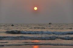 Beautiful sunset on Goa royalty free stock photo