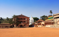 Goa. the street of the small village with several temples. Stock Photos