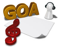 Goa tag, blank white paper sheet and pawn with headphones Royalty Free Stock Photos