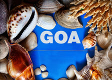 Goa title in seashells frame Royalty Free Stock Photo