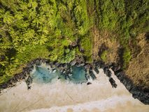 Beauty Xandrem beach aerial view landscape,. Goa touristic state in India Royalty Free Stock Photography