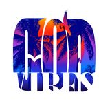 Goa vibes lettering. Goa vibes - lettering in double exposure. Fashionable trending inscription. Tropical background. Printing on T-shirts. Vector illustration stock illustration