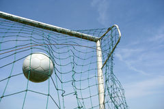 Goal !!. Picture of a soccer ball hitting the target Royalty Free Stock Photos