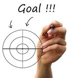 Goal. Human hand draw arrows, a lot of options to arrive a goal Stock Photos