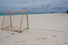 Goal. Football beach goal on the beach at maldive Royalty Free Stock Photos