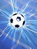 Goal. Composition of a soccer ball hitting the net Royalty Free Stock Images