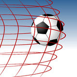 Goal. Soccer ball entering the goal and hitting the net Royalty Free Stock Photos