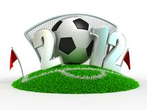 Goal. 3D Concept Football in Gate on White Background stock illustration