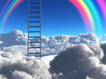 Goal. Ladder reaches into sky with rainbow Royalty Free Stock Photos