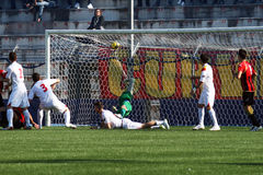Goal. A beautiful goal of sorrento football team against benevento in the italian professional league.febrary 2012 Royalty Free Stock Photo