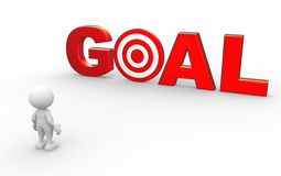 Goal. 3d people - man, person with red word goal as a target Stock Photo