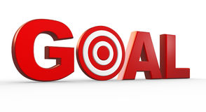 Goal. Red word Goal as a target. 3d render Stock Image