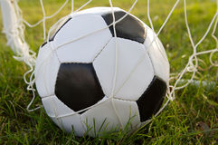 Goal. Photo of a Soccer ball upon the green grass Stock Photos