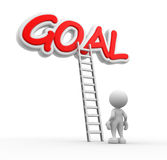 Goal. 3d people - man, person with a ladder and word GOAL Royalty Free Stock Images
