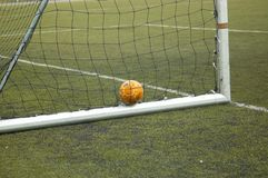 Goal. Soccerr ball in the goal Royalty Free Stock Photography
