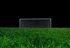 The Goal. Goal and the field isolated on black Stock Photography