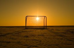 Goal. A soccer goal, with backlighting at sunset Royalty Free Stock Images