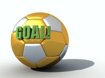 GOAL. 3d text with grass texture on golden and silver soccer-ball Stock Image