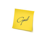 Goal. A yellow sticky note on a white background with clipping path royalty free stock photos