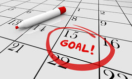 Goal Accomplish Achieve Mission Calendar Word Circled stock illustration