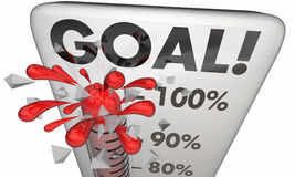 Goal Achieved 100 Percent Results Met Thermometer. 3d Illustration Royalty Free Stock Photography