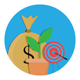 Goal achieved success. Growth and progress business. Vector illustration Stock Photo