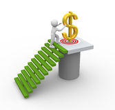 Goal achievement. 3d man climbing stairs to catch dollar. Concept of goal achievement Royalty Free Stock Image