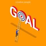 Goal achievement business flat isometric vector 3d Stock Photos