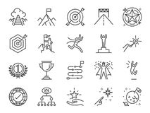 Goal and achievement icon set. Included the icons as achieve, success, target, roadmap, finish, celebrate, happy and more. Vector and illustration: Goal and royalty free illustration