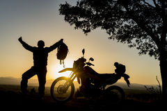 Goal achievement with the joy of motorcycles Royalty Free Stock Image