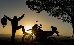 Goal achievement with the joy of motorcycles Royalty Free Stock Photography