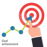 Goal achievement. Path chart to target. Successful way up to goal.. Ambition business. Businessman to top graph. Aspiration to victory. Vector illustration flat Royalty Free Stock Image