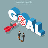 Goal achievement target letter flat 3d isometric vector. Goal achievement flat 3d isometry isometric business concept web vector illustration. Micro man sitting Royalty Free Stock Image