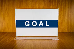 Goal on Acrylic card holder Stock Photos