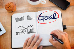 Goal  against business graphs Royalty Free Stock Images
