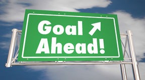 Goal Ahead Freeway Road Sign Mission Accomplished. 3d Illustration Royalty Free Stock Photos