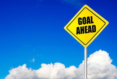 Goal ahead message on road sign Royalty Free Stock Photo