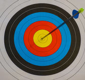 Goal !. An arrow has hit the target Royalty Free Stock Photography