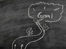 Goal on blackboard Stock Photo