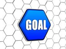 Goal in blue hexagon Stock Photo
