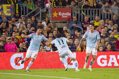 Goal celebration. Celta players celebrating a goal at Spanish League match between FC Barcelona and Celta de Vigo, final score 0-1, on November 1, 2014, in Camp Stock Image