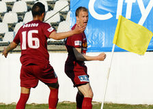 Goal celebration. Football players celebrate a goal during the Romanian League 1 game between Sportul Studentesc and CFR Cluj held on Regie Arena from Bucharest stock photo