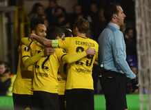 Goal celebration. Football players pictured during UEFA Europa League round of 16 game between Tottenham Hotspur and Borussia Dortmund on March 17, 2016 at White stock photo
