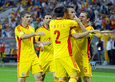 Goal celebration in Romania-Hungary Stock Image
