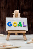 Goal. Character which are building the word GOAL Stock Photo