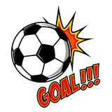 Goal!!! Comic style sport illustration with soccer ball. Footbal Stock Photo