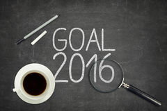 Goal 2016 concept on black blackboard with empty Stock Image