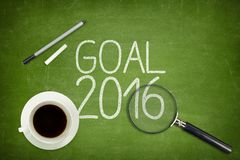 Goal 2016 concept on green blackboard with empty Royalty Free Stock Images