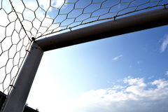 Goal Corner. Soccer or Football goal corner with net sky blue Royalty Free Stock Image