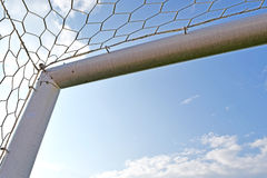 Goal Corner. Soccer or Football goal corner with net sky blue Stock Image